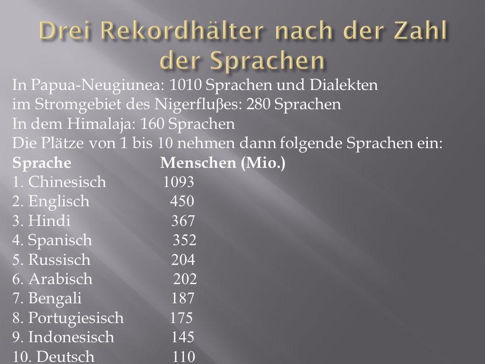 In Papua-Neugiunea: 1010 Sprachen und Dialekten im Stromgebiet des Nigerflu β es: 280 Sprachen In dem Himalaja: 160 Sprachen Die Plätze von 1 bis 10 n