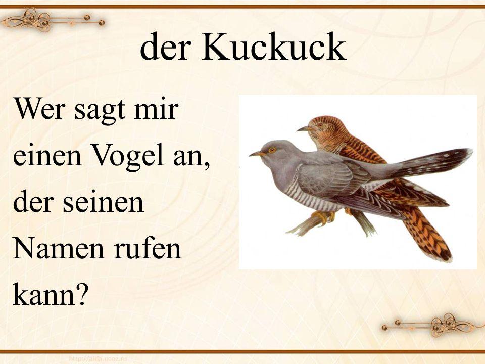 der Kuckuck Wer sagt mir einen Vogel an, der seinen Namen rufen kann?