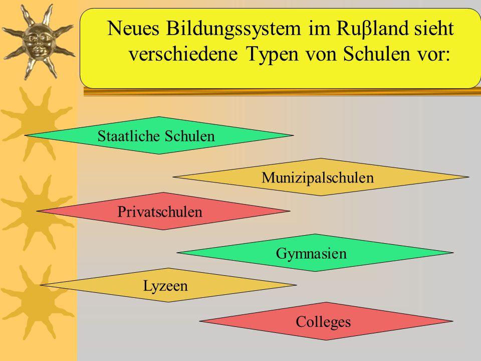 Staatliche Schulen Munizipalschulen Privatschulen Neues Bildungssystem im Ruβland sieht verschiedene Typen von Schulen vor: Gymnasien Lyzeen Colleges