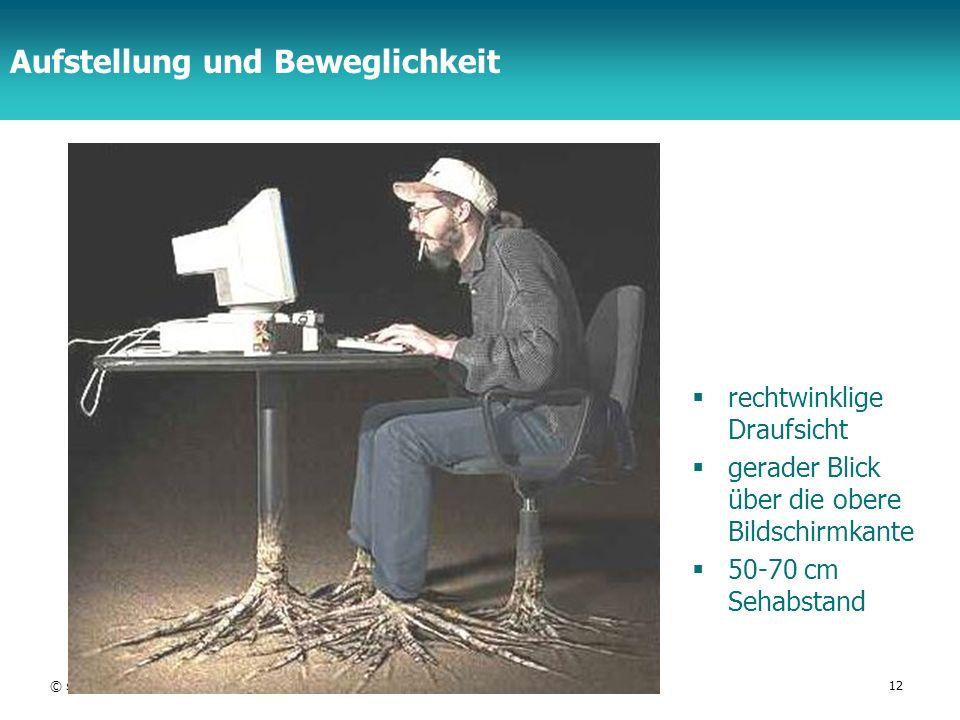 TFH Berlin Aufstellung und Beweglichkeit rechtwinklige Draufsicht gerader Blick über die obere Bildschirmkante 50-70 cm Sehabstand © schmiedecke 08HCI