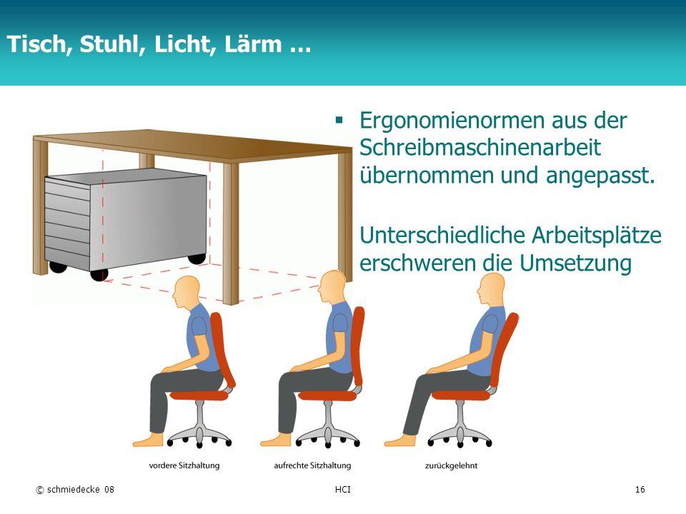 TFH Berlin Tisch, Stuhl, Licht, Lärm … Ergonomienormen aus der Schreibmaschinenarbeit übernommen und angepasst. Unterschiedliche Arbeitsplätze erschwe