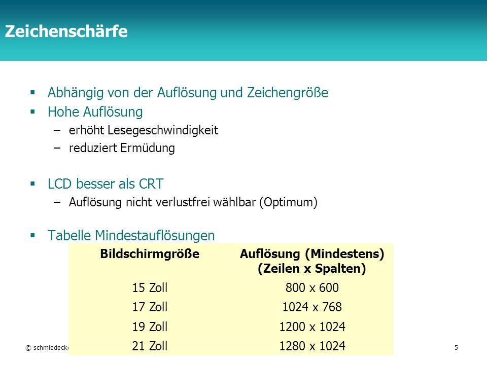 TFH Berlin Zeichenschärfe Abhängig von der Auflösung und Zeichengröße Hohe Auflösung –erhöht Lesegeschwindigkeit –reduziert Ermüdung LCD besser als CR