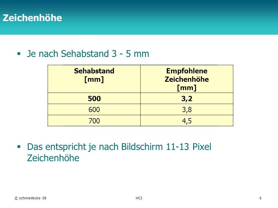 TFH Berlin Zeichenhöhe Je nach Sehabstand 3 - 5 mm Das entspricht je nach Bildschirm 11-13 Pixel Zeichenhöhe © schmiedecke 08HCI6 Sehabstand [mm] Empf