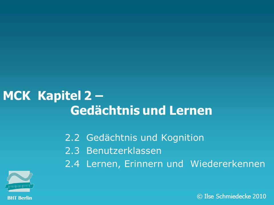 TFH Berlin MCK Kapitel 2 – Gedächtnis und Lernen 2.2 Gedächtnis und Kognition 2.3 Benutzerklassen 2.4 Lernen, Erinnern und Wiedererkennen © Ilse Schmi