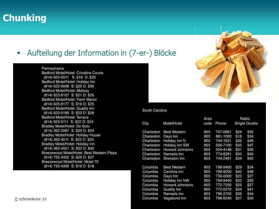 TFH Berlin Chunking Aufteilung der Information in (7-er-) Blöcke © schmiedecke 10HCI14