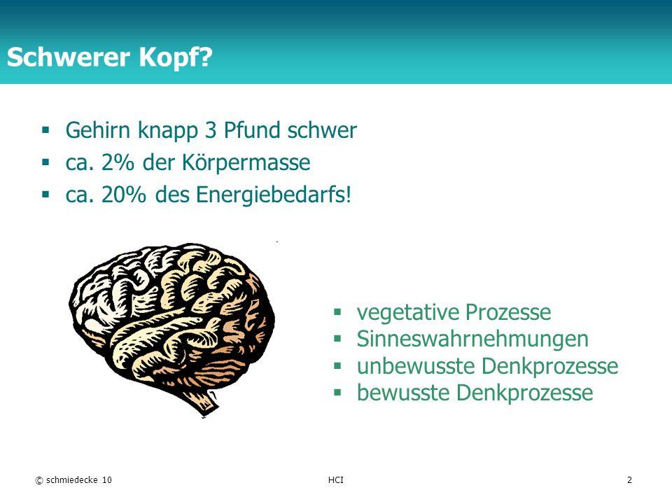 TFH Berlin Schwerer Kopf? Gehirn knapp 3 Pfund schwer ca. 2% der Körpermasse ca. 20% des Energiebedarfs! © schmiedecke 10HCI2 vegetative Prozesse Sinn