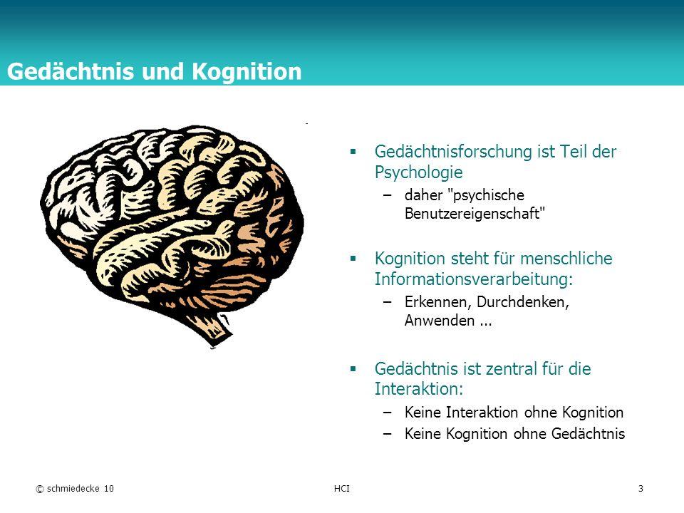 TFH Berlin © schmiedecke 10HCI3 Gedächtnis und Kognition Gedächtnisforschung ist Teil der Psychologie –daher