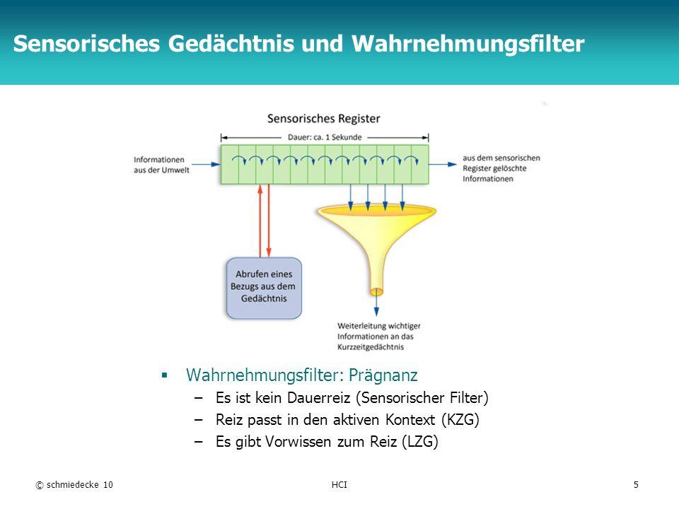 TFH Berlin Sensorisches Gedächtnis und Wahrnehmungsfilter Wahrnehmungsfilter: Prägnanz –Es ist kein Dauerreiz (Sensorischer Filter) –Reiz passt in den