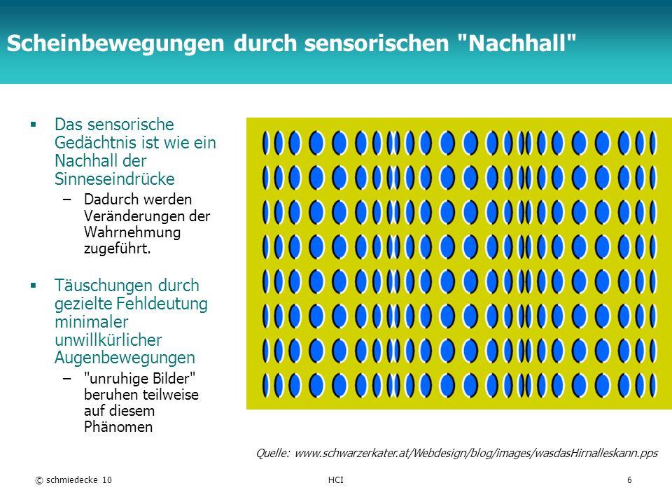 TFH Berlin © schmiedecke 10HCI6 Scheinbewegungen durch sensorischen