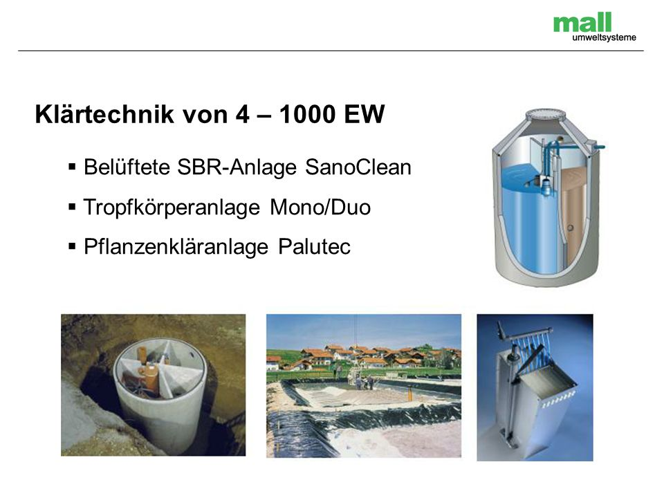 Belüftete SBR-Anlage SanoClean Tropfkörperanlage Mono/Duo Pflanzenkläranlage Palutec Klärtechnik von 4 – 1000 EW