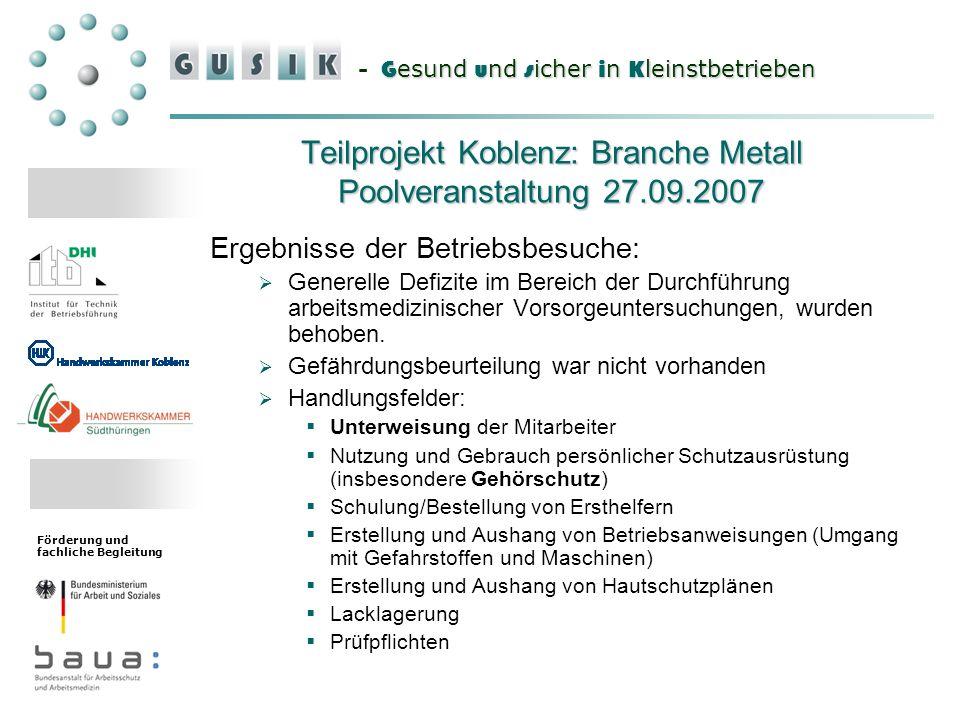 G esund u nd s icher i n K leinstbetrieben - G esund u nd s icher i n K leinstbetrieben Förderung und fachliche Begleitung Teilprojekt Koblenz: Branch