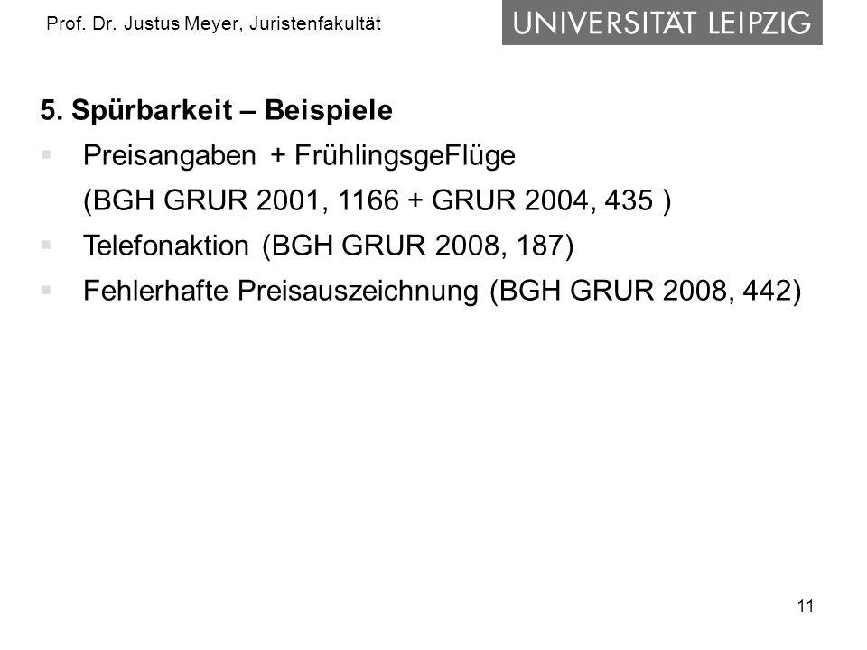 11 Prof. Dr. Justus Meyer, Juristenfakultät 5. Spürbarkeit – Beispiele Preisangaben + FrühlingsgeFlüge (BGH GRUR 2001, 1166 + GRUR 2004, 435 ) Telefon