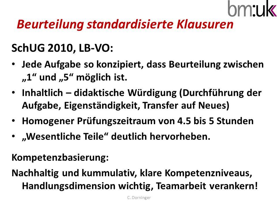 Beurteilung standardisierte Klausuren SchUG 2010, LB-VO: Jede Aufgabe so konzipiert, dass Beurteilung zwischen 1 und 5 möglich ist. Inhaltlich – didak