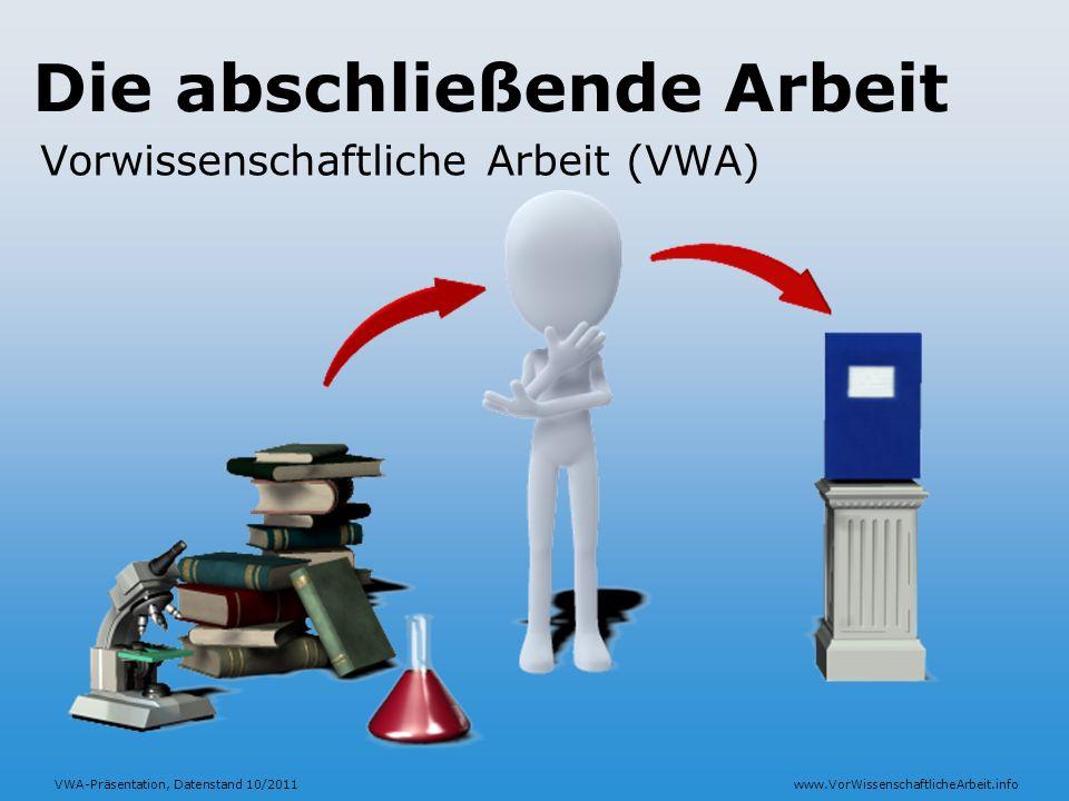 VWA-Präsentation, Datenstand 10/2011www.VorWissenschaftlicheArbeit.info Die abschließende Arbeit Vorwissenschaftliche Arbeit (VWA)