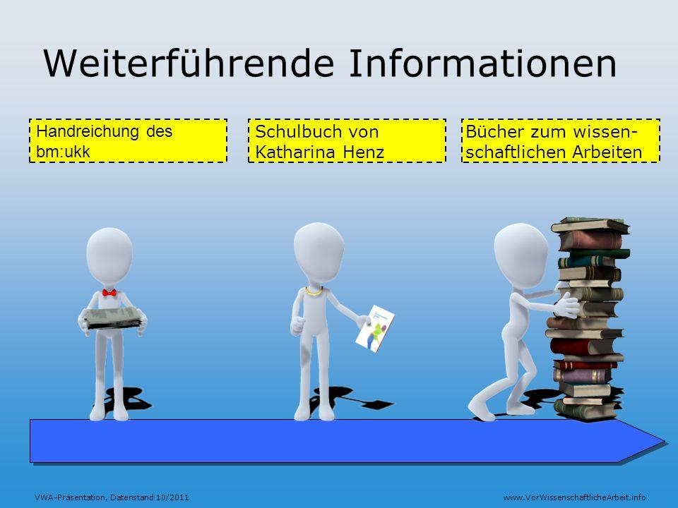 VWA-Präsentation, Datenstand 10/2011www.VorWissenschaftlicheArbeit.info Weiterführende Informationen Handreichung des bm:ukk Bücher zum wissen- schaft