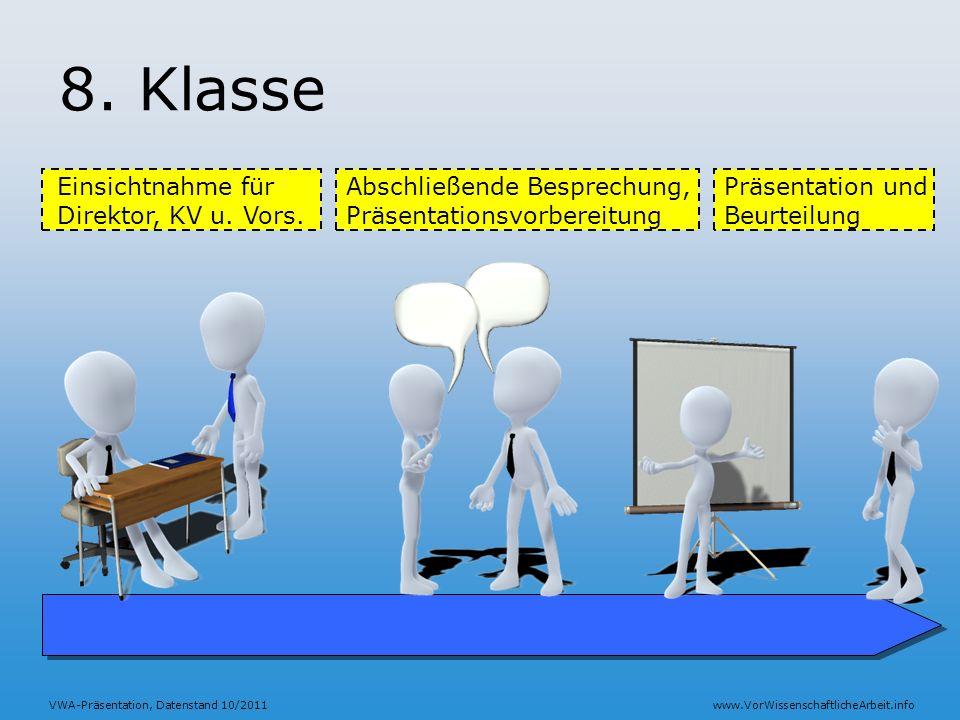 VWA-Präsentation, Datenstand 10/2011www.VorWissenschaftlicheArbeit.info 8. Klasse Einsichtnahme für Direktor, KV u. Vors. Präsentation und Beurteilung