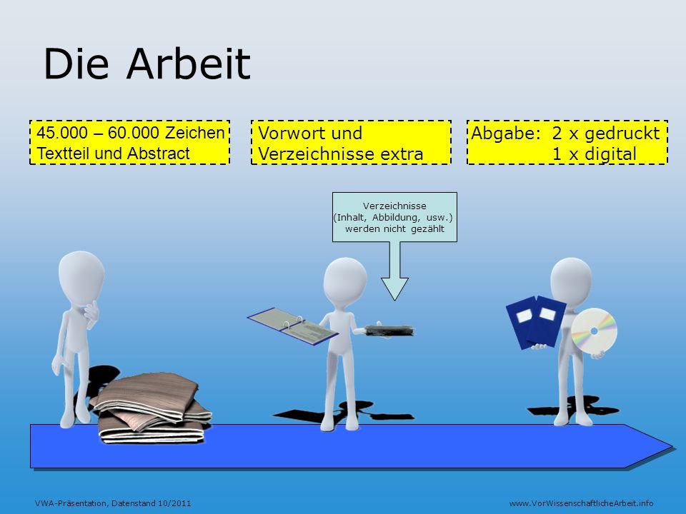 VWA-Präsentation, Datenstand 10/2011www.VorWissenschaftlicheArbeit.info Die Arbeit 45.000 – 60.000 Zeichen Textteil und Abstract Abgabe:2 x gedruckt 1