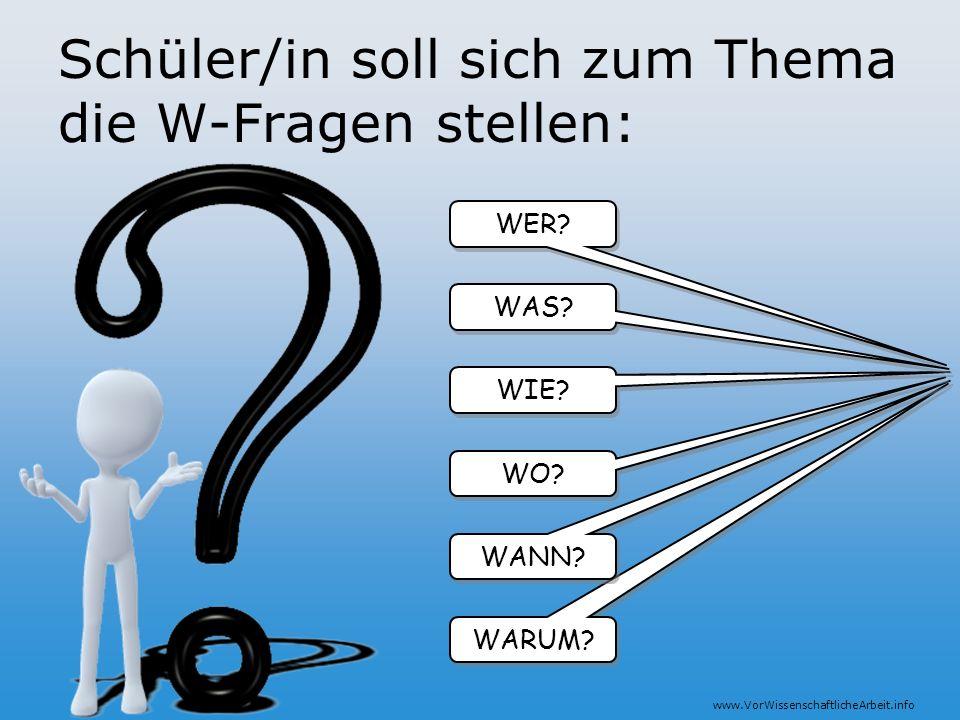 www.VorWissenschaftlicheArbeit.info Schüler/in soll sich zum Thema die W-Fragen stellen: WER? WARUM? WANN? WO? WIE? WAS?