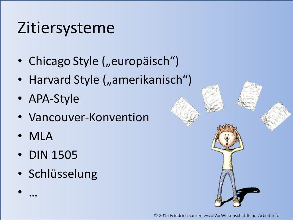 © 2013 Friedrich Saurer, www.VorWissenschaftliche Arbeit.info Zitiersysteme Chicago Style (europäisch) Harvard Style (amerikanisch) APA-Style Vancouve