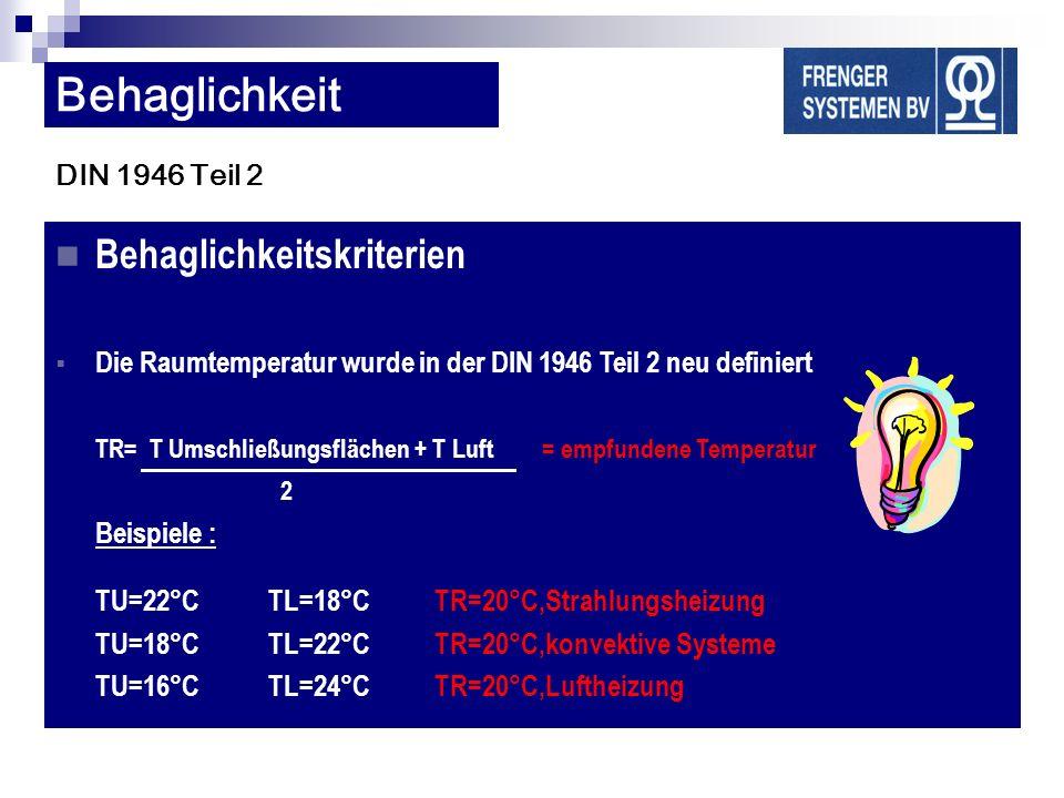 DIN 1946 Teil 2 Behaglichkeitskriterien Die Raumtemperatur wurde in der DIN 1946 Teil 2 neu definiert TR= T Umschließungsflächen + T Luft = empfundene