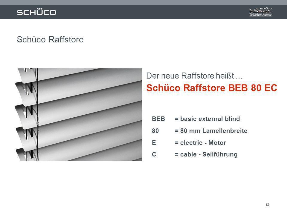 12 Der neue Raffstore heißt... Schüco Raffstore BEB 80 EC BEB = basic external blind 80 = 80 mm Lamellenbreite E = electric - Motor C= cable - Seilfüh