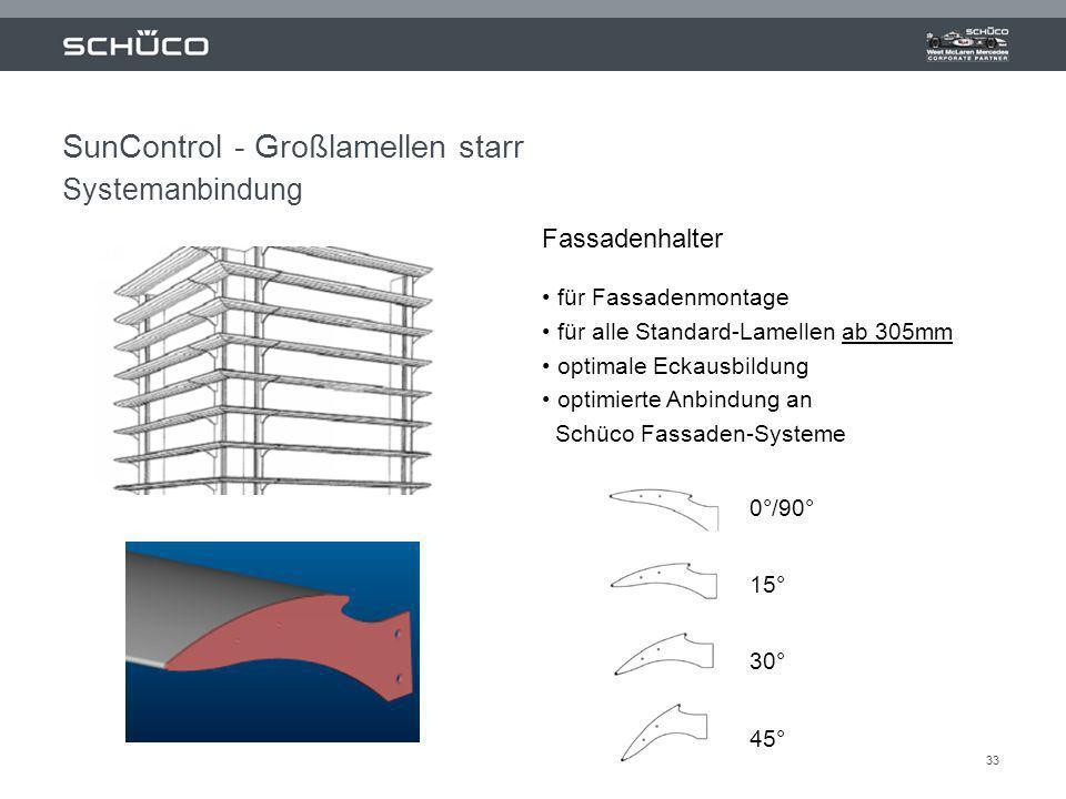 33 Fassadenhalter für Fassadenmontage für alle Standard-Lamellen ab 305mm optimale Eckausbildung optimierte Anbindung an Schüco Fassaden-Systeme 0°/90