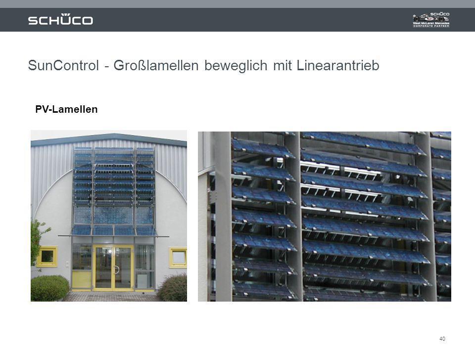 40 SunControl - Großlamellen beweglich mit Linearantrieb PV-Lamellen
