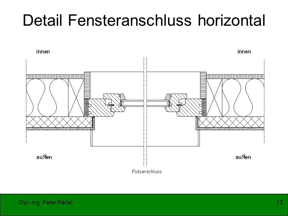 Dipl.-Ing. Peter Rädel13 Detail Fensteranschluss horizontal