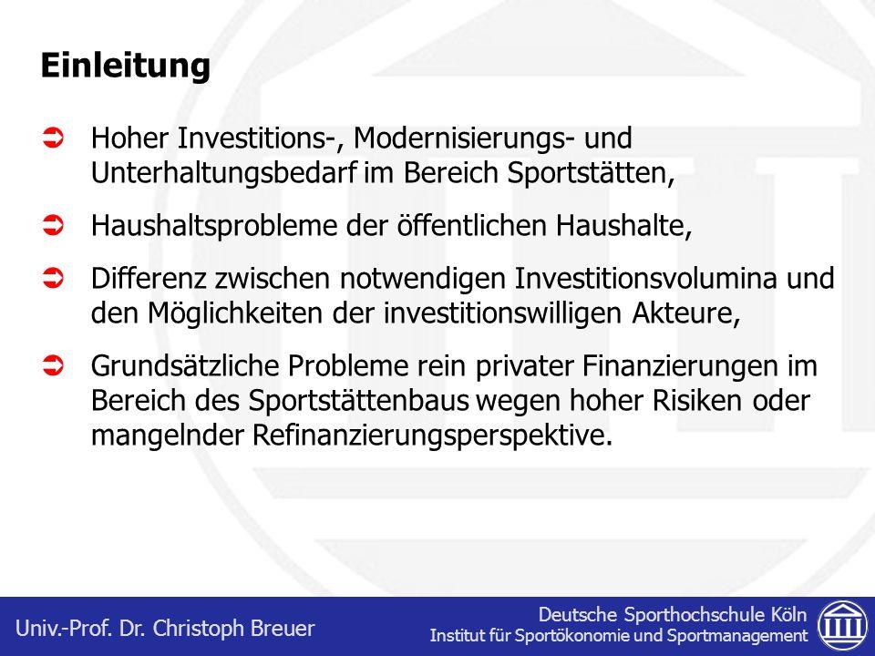 Deutsche Sporthochschule Köln Institut für Sportökonomie und Sportmanagement Univ.-Prof. Dr. Christoph Breuer Einleitung Hoher Investitions-, Modernis
