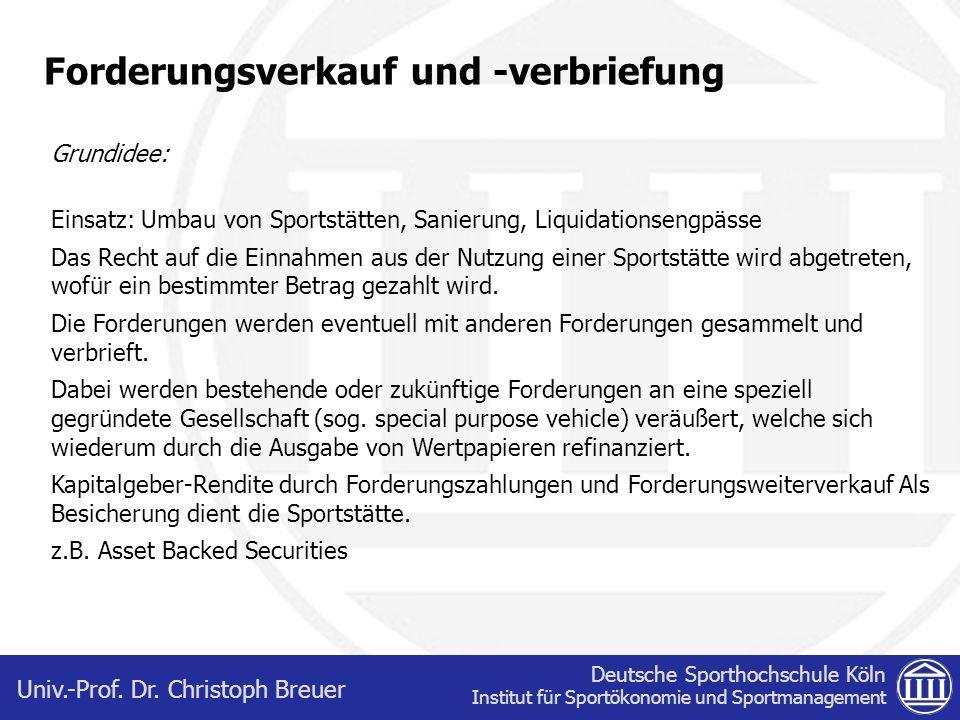 Deutsche Sporthochschule Köln Institut für Sportökonomie und Sportmanagement Univ.-Prof. Dr. Christoph Breuer Forderungsverkauf und -verbriefung Grund
