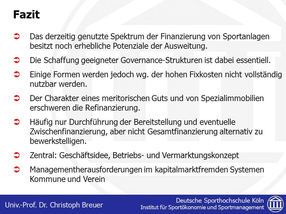 Deutsche Sporthochschule Köln Institut für Sportökonomie und Sportmanagement Univ.-Prof. Dr. Christoph Breuer Fazit Das derzeitig genutzte Spektrum de