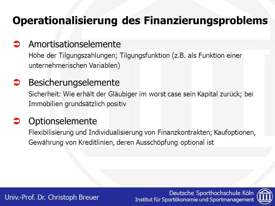 Deutsche Sporthochschule Köln Institut für Sportökonomie und Sportmanagement Univ.-Prof. Dr. Christoph Breuer Operationalisierung des Finanzierungspro