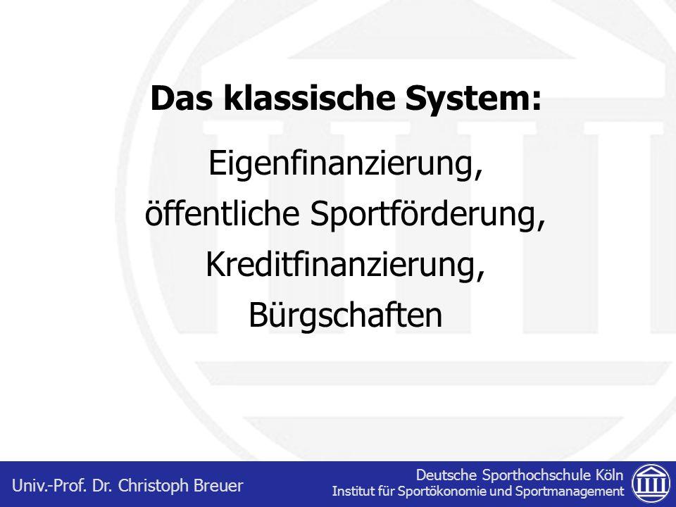 Deutsche Sporthochschule Köln Institut für Sportökonomie und Sportmanagement Univ.-Prof. Dr. Christoph Breuer Das klassische System: Eigenfinanzierung