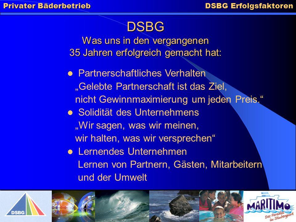 DSBG Erfolgsfaktoren DSBG Was uns in den vergangenen 35 Jahren erfolgreich gemacht hat: Partnerschaftliches Verhalten Gelebte Partnerschaft ist das Ziel, nicht Gewinnmaximierung um jeden Preis.