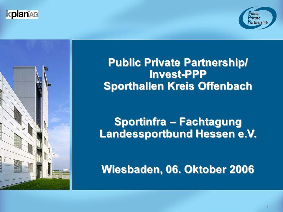 1 Public Private Partnership/ Invest-PPP Sporthallen Kreis Offenbach Sportinfra – Fachtagung Landessportbund Hessen e.V. Wiesbaden, 06. Oktober 2006