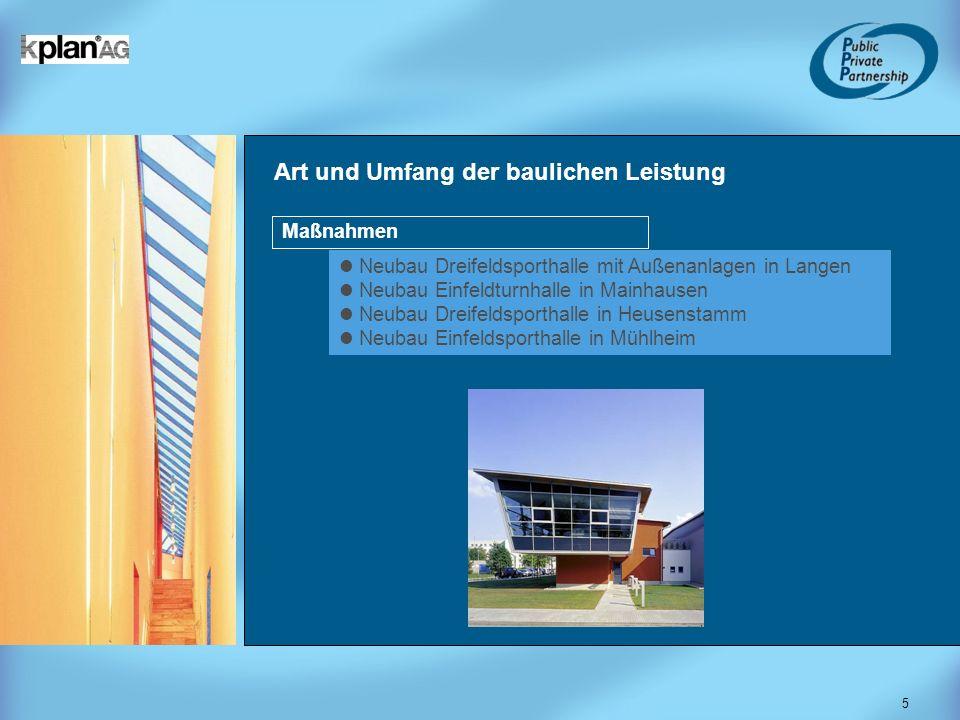 5 Art und Umfang der baulichen Leistung Neubau Dreifeldsporthalle mit Außenanlagen in Langen Neubau Einfeldturnhalle in Mainhausen Neubau Dreifeldspor