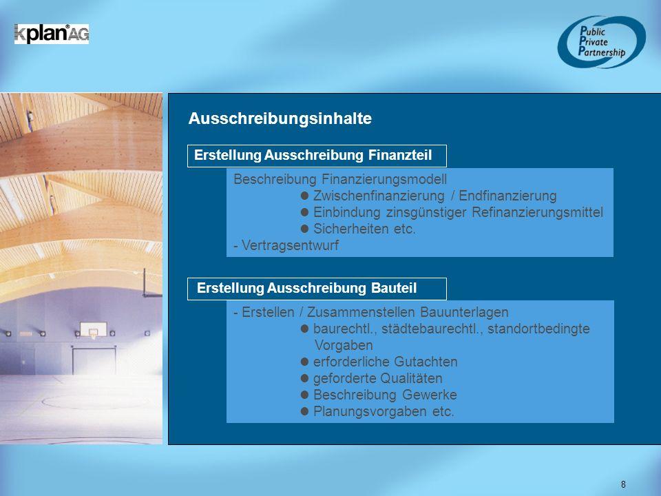 8 Ausschreibungsinhalte Beschreibung Finanzierungsmodell Zwischenfinanzierung / Endfinanzierung Einbindung zinsgünstiger Refinanzierungsmittel Sicherh