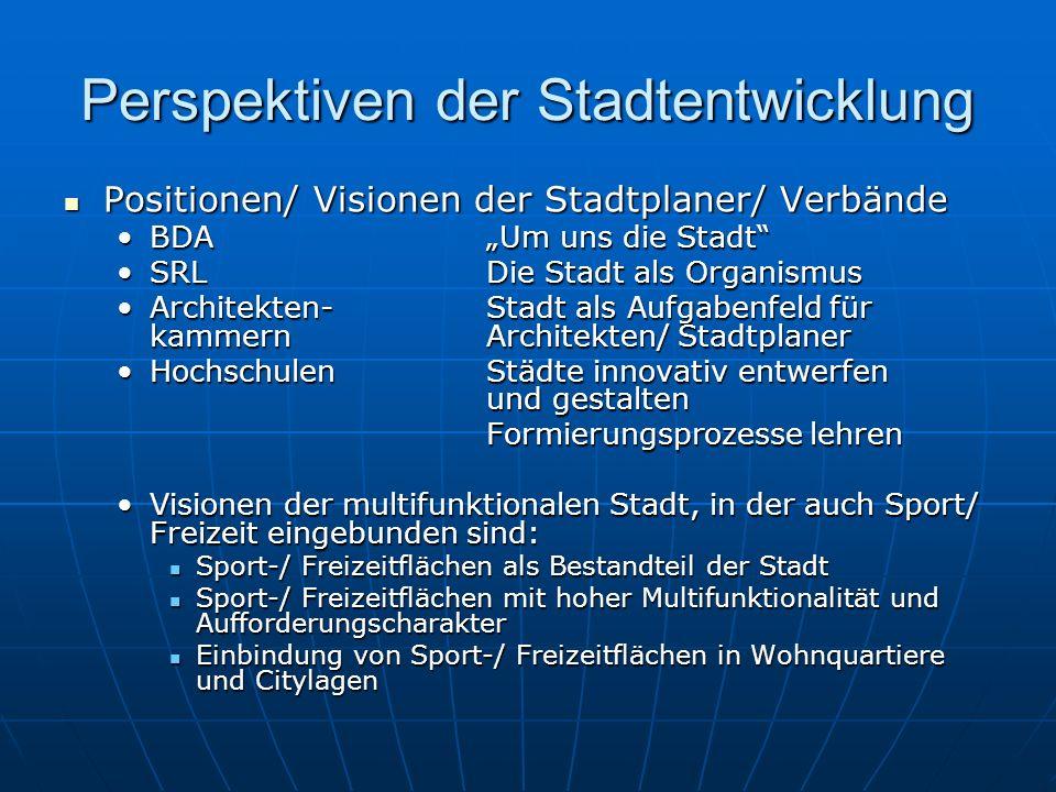 Perspektiven der Stadtentwicklung Positionen/ Visionen der Stadtplaner/ Verbände Positionen/ Visionen der Stadtplaner/ Verbände BDAUm uns die StadtBDA