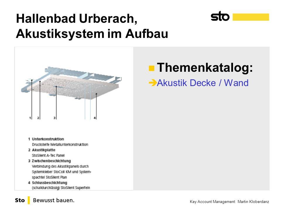 Key Account Management: Martin Kloberdanz Hallenbad Urberach, Akustiksystem im Aufbau Themenkatalog: Akustik Decke / Wand
