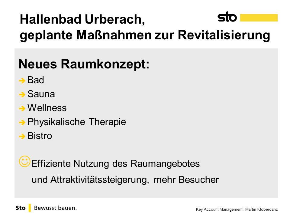 Key Account Management: Martin Kloberdanz Hallenbad Urberach, geplante Maßnahmen zur Revitalisierung Neues Raumkonzept: Bad Sauna Wellness Physikalisc