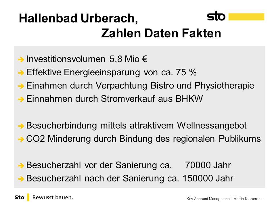 Key Account Management: Martin Kloberdanz Hallenbad Urberach, Zahlen Daten Fakten Investitionsvolumen 5,8 Mio Effektive Energieeinsparung von ca. 75 %