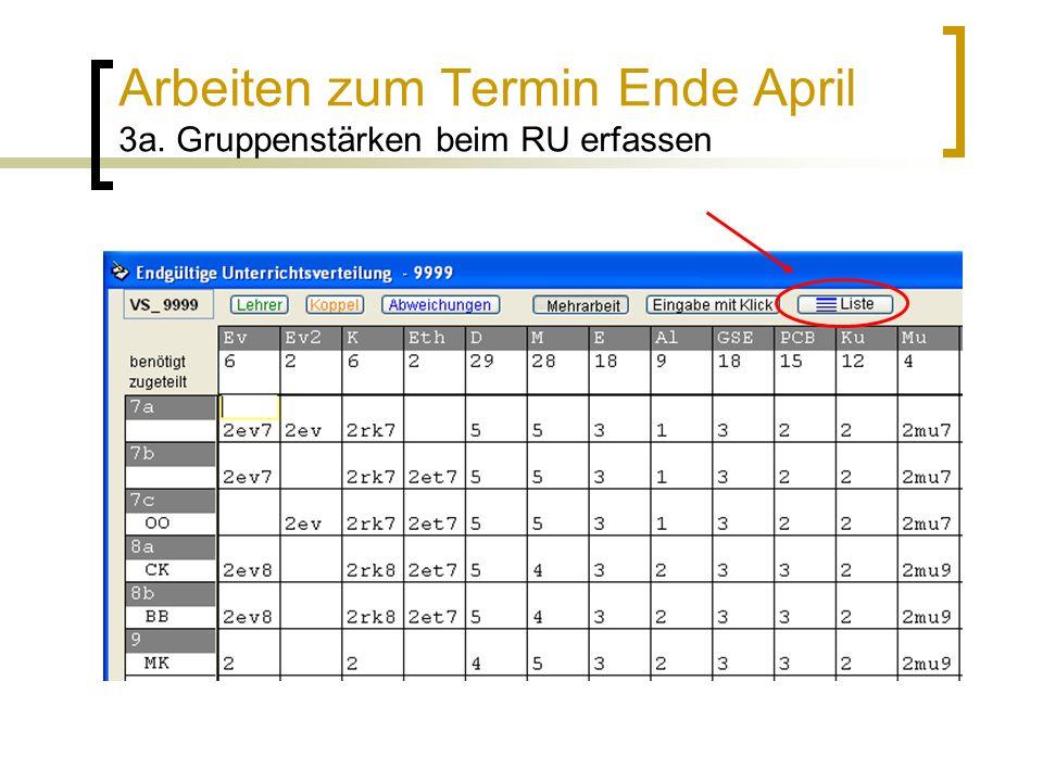 Arbeiten zum Termin Ende April 3a. Gruppenstärken beim RU erfassen