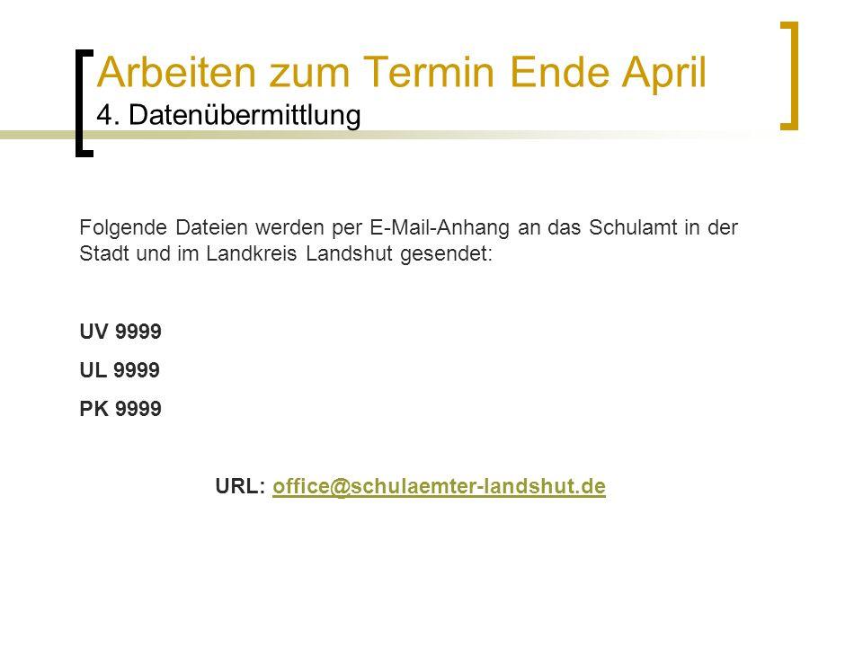 Arbeiten zum Termin Ende April 4. Datenübermittlung Folgende Dateien werden per E-Mail-Anhang an das Schulamt in der Stadt und im Landkreis Landshut g