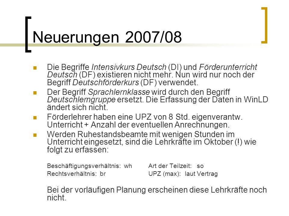 Neuerungen 2007/08 Die Begriffe Intensivkurs Deutsch (DI) und Förderunterricht Deutsch (DF) existieren nicht mehr. Nun wird nur noch der Begriff Deuts