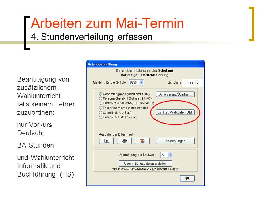 2011/12 Beantragung von zusätzlichem Wahlunterricht, falls keinem Lehrer zuzuordnen: nur Vorkurs Deutsch, BA-Stunden und Wahlunterricht Informatik und