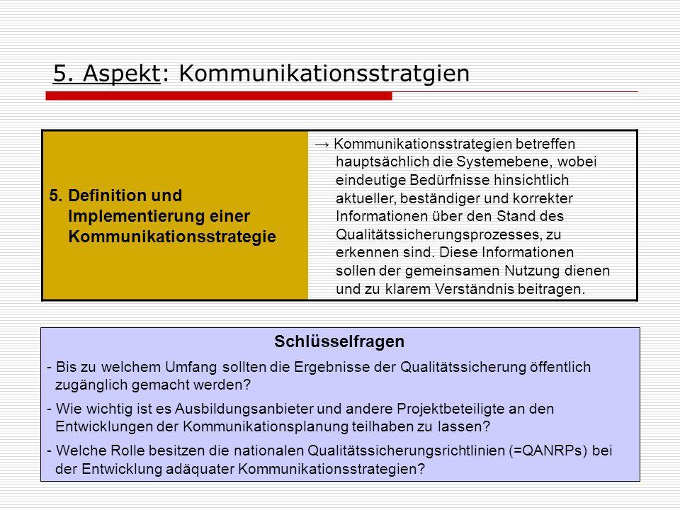 5. Aspekt: Kommunikationsstratgien 5. Definition und Implementierung einer Kommunikationsstrategie Kommunikationsstrategien betreffen hauptsächlich di