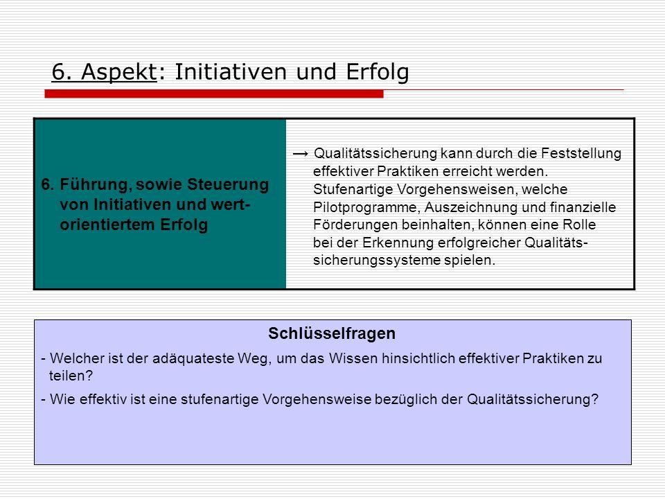6. Aspekt: Initiativen und Erfolg 6. Führung, sowie Steuerung von Initiativen und wert- orientiertem Erfolg Qualitätssicherung kann durch die Feststel