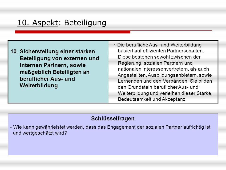 10. Aspekt: Beteiligung 10. Sicherstellung einer starken Beteiligung von externen und internen Partnern, sowie maßgeblich Beteiligten an beruflicher A
