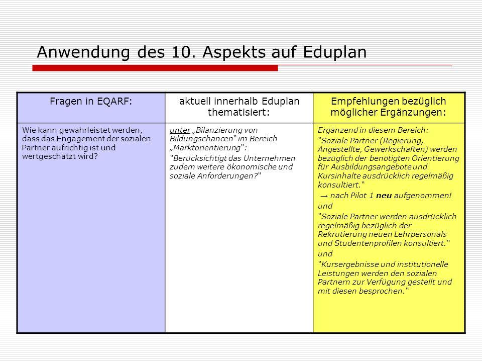 Anwendung des 10. Aspekts auf Eduplan Fragen in EQARF:aktuell innerhalb Eduplan thematisiert: Empfehlungen bezüglich möglicher Ergänzungen: Wie kann g
