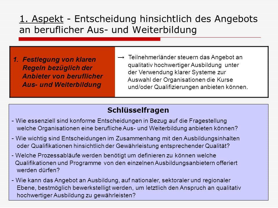 1. Aspekt - Entscheidung hinsichtlich des Angebots an beruflicher Aus- und Weiterbildung 1. Festlegung von klaren Regeln bezüglich der Anbieter von be